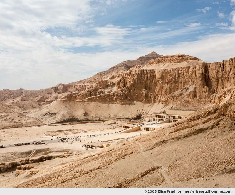 Valley of Deir el-Bahari and The Temple of Hatshepsut viewed from the Theban path, Luxor, Egypt, 2008 by Elise Prudhomme