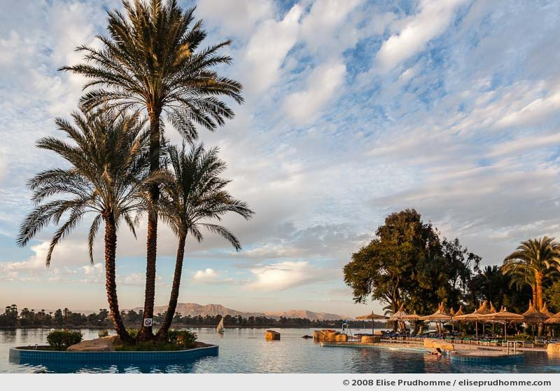 Infinity swimming pool at sunset, Movenpick Jolie Ville Hotel, Luxor, Egypt, 2008 by Elise Prudhomme