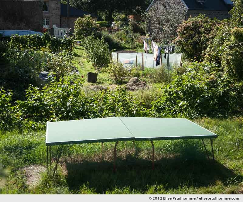 Overgrown backyard and warped table tennis (ping-pong), Normandy, France, 2012 by Elise Prudhomme