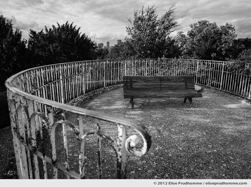 Park bench and balustrade at the belvedere of the Jardin des Bagatelles, Paris, France, 2012 by Elise Prudhomme