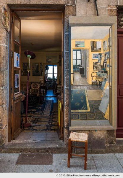 View from the street of a painter's studio and a painting of his studio, Granville, France, 2013 by Elise Prudhomme