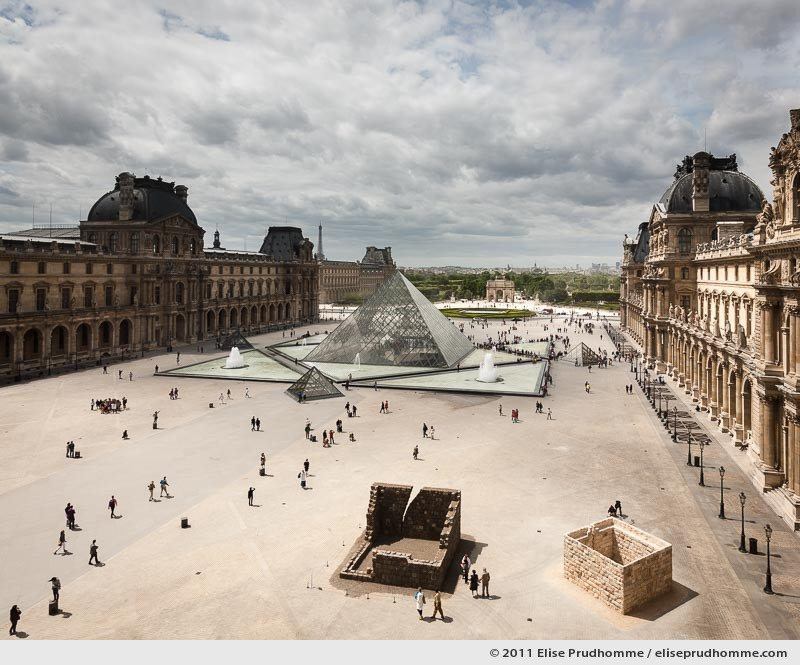 Overview of the Cour Napoléon, I.M. Pei's Pyramid and beyond from the Louvre Museum, Paris, France, 2011 by Elise Prudhomme