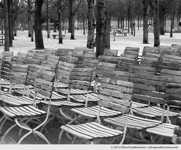 Parking, Tuileries Garden, Paris, France, 2012 (part of the series Yours, Mine, Le Nôtre's) by Elise Prudhomme.