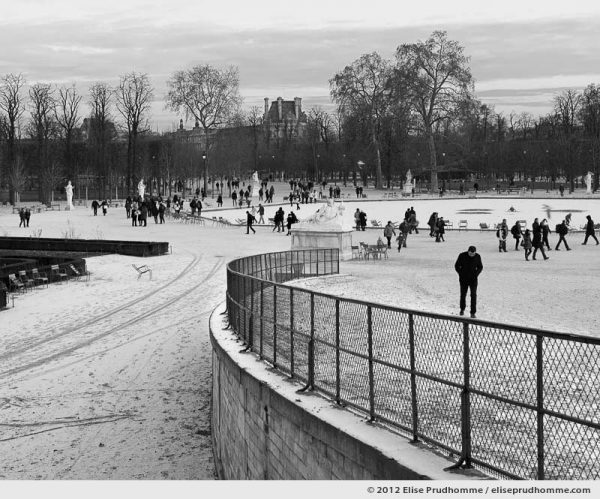 Patineur or Skater, Tuileries Garden, Paris, France, 2012 (part of the series Yours, Mine, Le Nôtre's) by Elise Prudhomme.