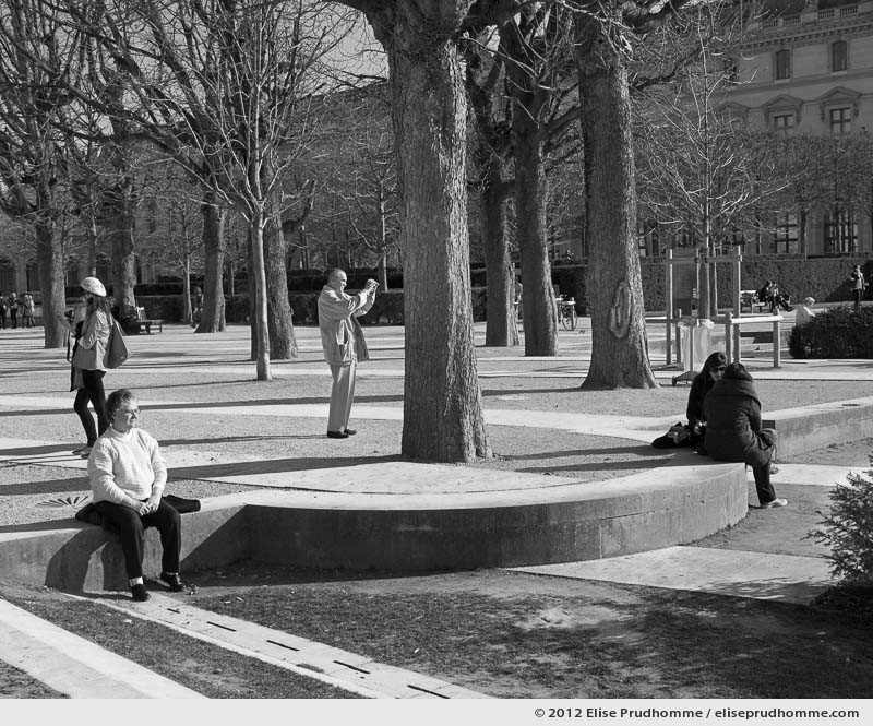 Points cardinaux or Cardinal Points, Tuileries Garden, Paris, France, 2012 (part of the series Yours, Mine, Le Nôtre's) by Elise Prudhomme.