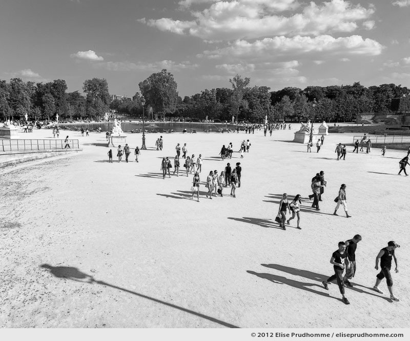 Portée or Shadows Cast, Tuileries Garden, Paris, France, 2011 (part of the series Yours, Mine, Le Nôtre's) by Elise Prudhomme.