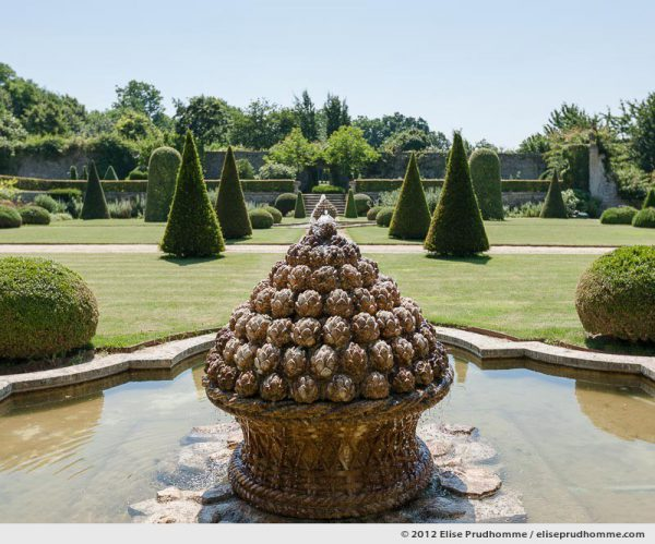 Artichoke fountain designed by Barbara Wirth, Brecy Castle Gardens, Saint Gabriel Brécy, France, 2012 (series Notable Gardens of France) by Elise Prudhomme.