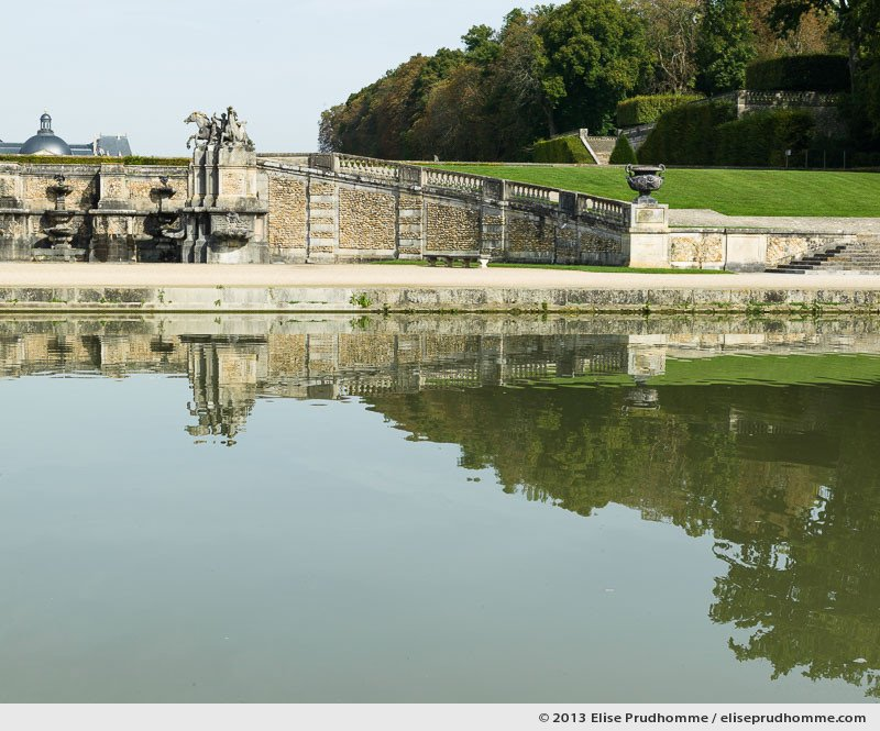 View of the cascades from the Canal de la Poêle, Vaux-le-Vicomte Castle and Garden, Maincy, France. 2013 (series Yours, Mine, Le Nôtre's) by Elise Prudhomme.