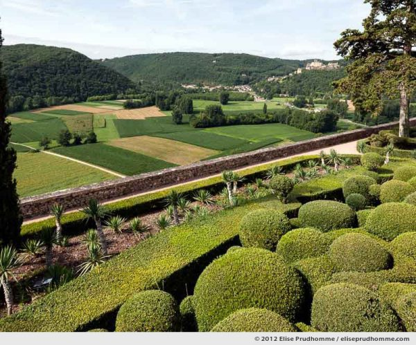Castelnaud and cultivated fields, The Suspended Gardens of Marqueyssac, Vezac, France (series Notable Gardens of France) by Elise Prudhomme.
