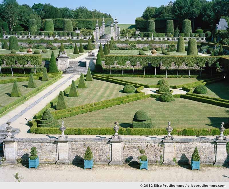 Château view of the formal gardens #2, Brecy Castle Gardens, Saint Gabriel Brécy, France. 2012 (series Notable Gardens of France) by Elise Prudhomme.