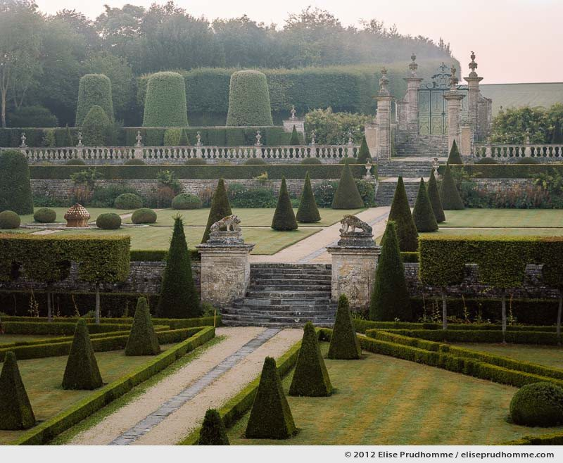 Château view of the formal gardens #1, Brecy Castle Gardens, Saint Gabriel Brécy, France, 2012 (series Notable Gardens of France) by Elise Prudhomme