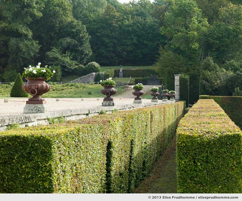 Hedge and vase detail of the Parterre de la Couronne, Vaux-le-Vicomte Castle and Garden, Maincy, France. 2013 (series Yours, Mine, Le Nôtre's) by Elise Prudhomme.