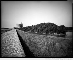 Moat and Vauban Fort seen from the bastion wall, Tatihou Island, Saint-Vaast-la-Hougue, France. 2014 (series Sands of Time) by Elise Prudhomme.