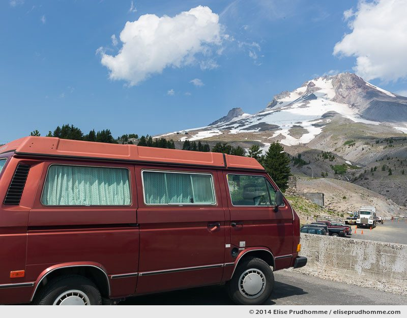 Road tripping in a Volkswagen Westfalia, Mount Hood, Oregon, USA. 2014 (series Wild Wild West) by Elise Prudhomme.