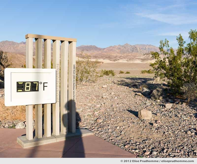 Self-portrait at 87 fahrenheit, Furnace Creek Visitor Center, California, USA, 2015 (series Wild Wild West) by Elise Prudhomme.