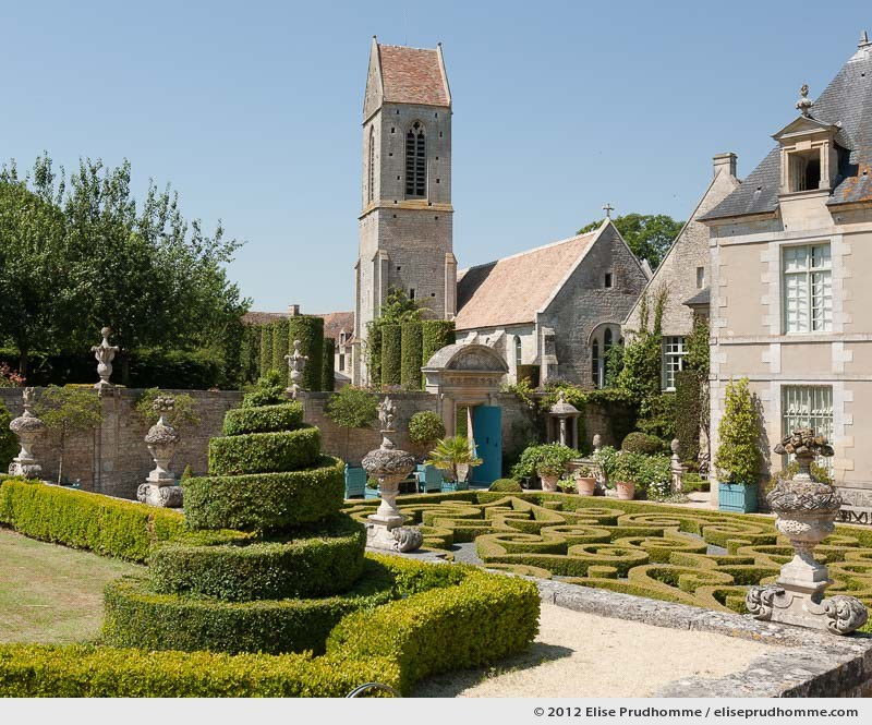 View of the church and château from the first terrace, Brecy Castle Gardens, Saint Gabriel Brécy, France, 2012 (series Notable Gardens of France) by Elise Prudhomme.