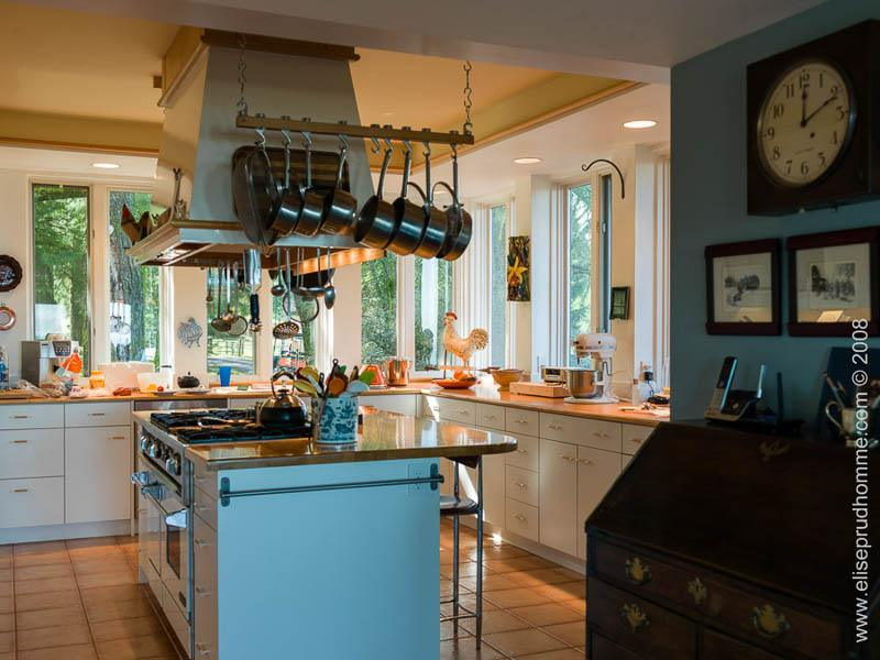 Photo of classical kitchen interior with Techline cabinets and cooking island by Elise Prudhomme.
