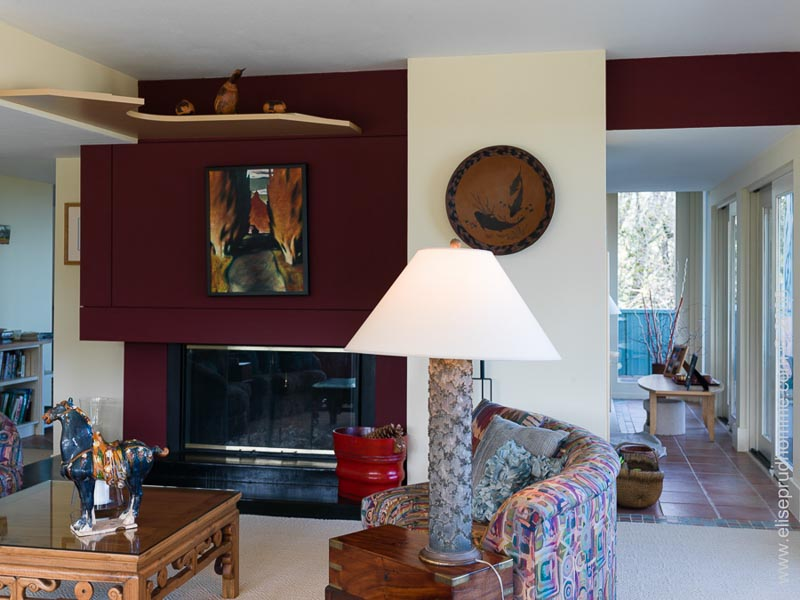 Photo of living room interior with central fireplace and decorative contemporary art by Elise Prudhomme.
