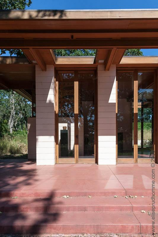 Clerestory windows on a wing of The Gordon House in Silverton, Oregon, USA. Designed by Frank Lloyd Wright.