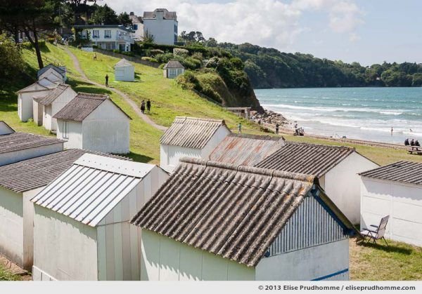 Bathing cabins and path leading to Ris Beach (Plage du Ris), Douarnenez, France, 2013 by Elise Prudhomme