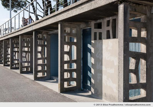Architectural detail and concrete decoration of bathing cabins on Trez Beach, Benodet, France, 2013 by Elise Prudhomme
