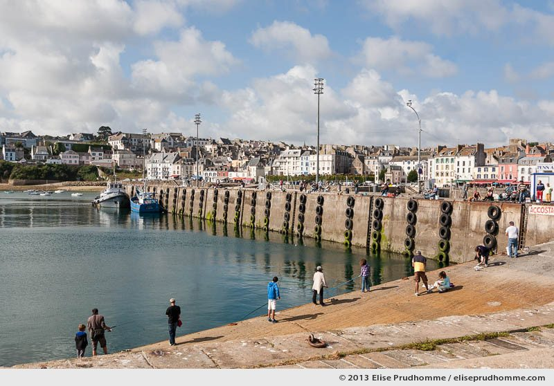 People of all ages fishing in the Port de Rosmeur, Douarnenez, France, 2013 by Elise Prudhomme