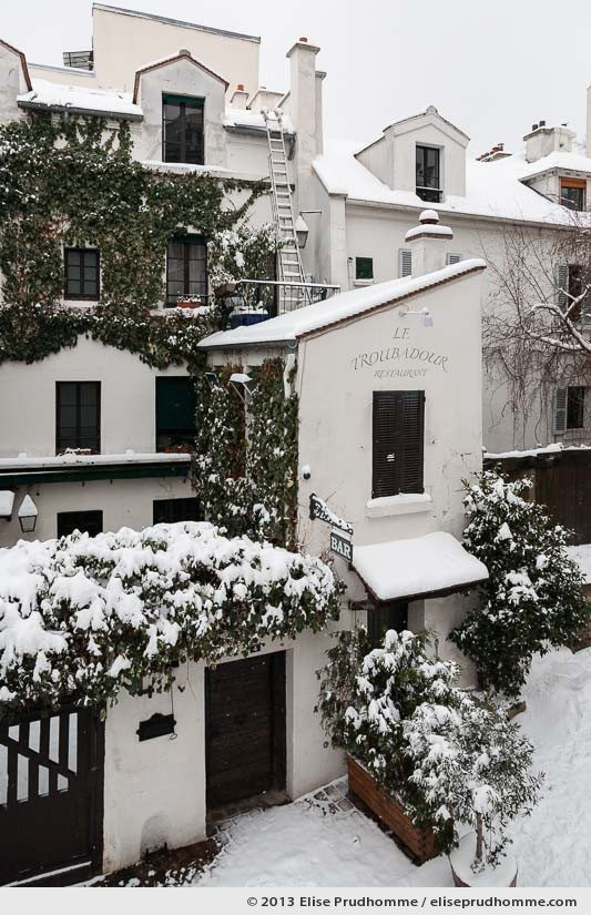 Snowing at Le Troubadour Restaurant and Montmartre vicinity, Paris, France, 2013 by Elise Prudhomme