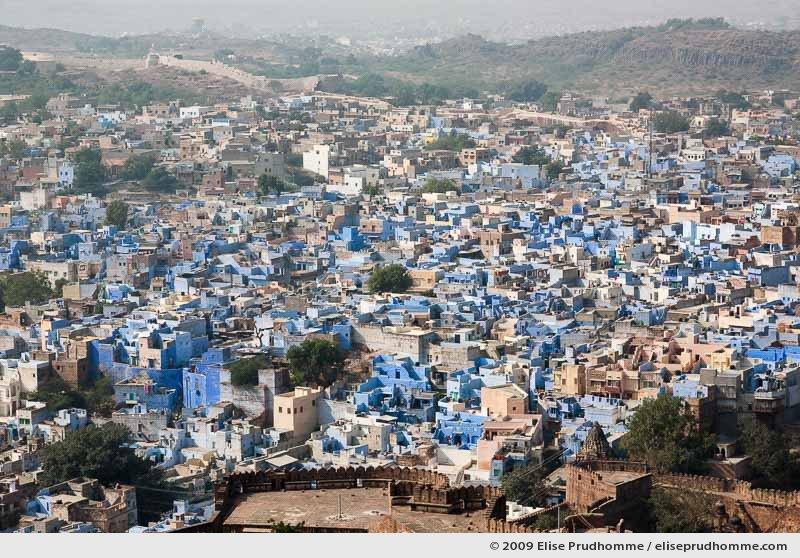 Aerial view of Jodhpur city from Mehrangarh Fort, Rajasthan, Northwestern India, 2009 by Elise Prudhomme.