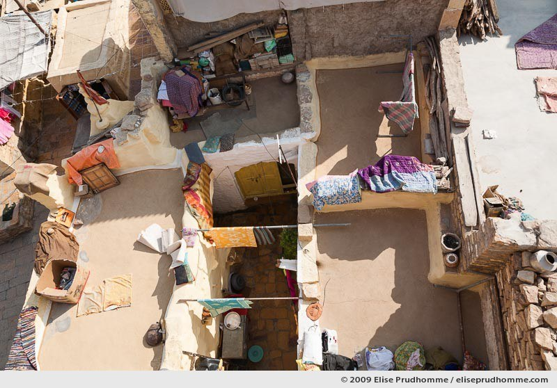 Aerial view of residential lifestyle on the rooftops of golden city of Jaisalmer, Rajasthan, Western India, 2009 by Elise Prudhomme.