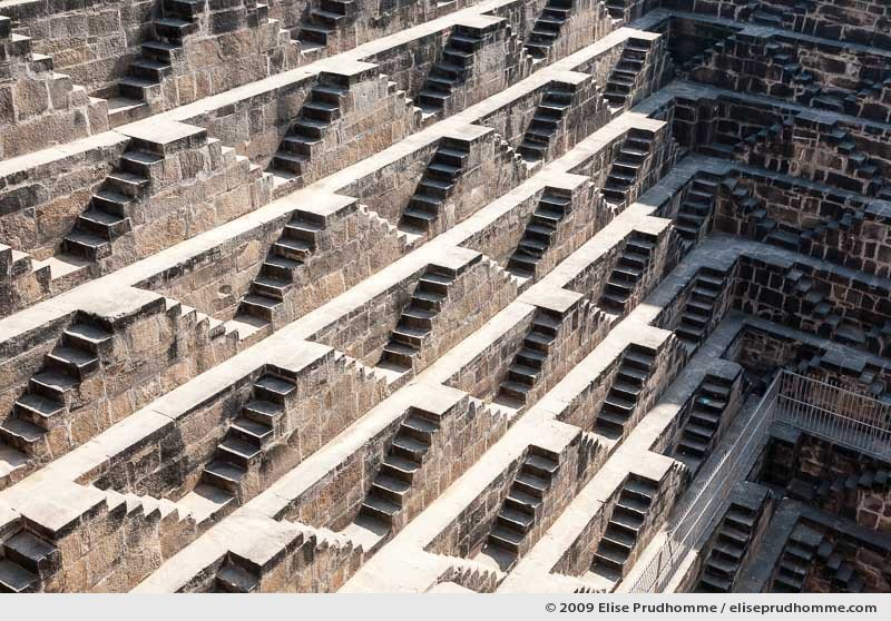Detailed view of the Chand Baori Step Well, Abhaneri, Rajasthan, India, 2009 by Elise Prudhomme.