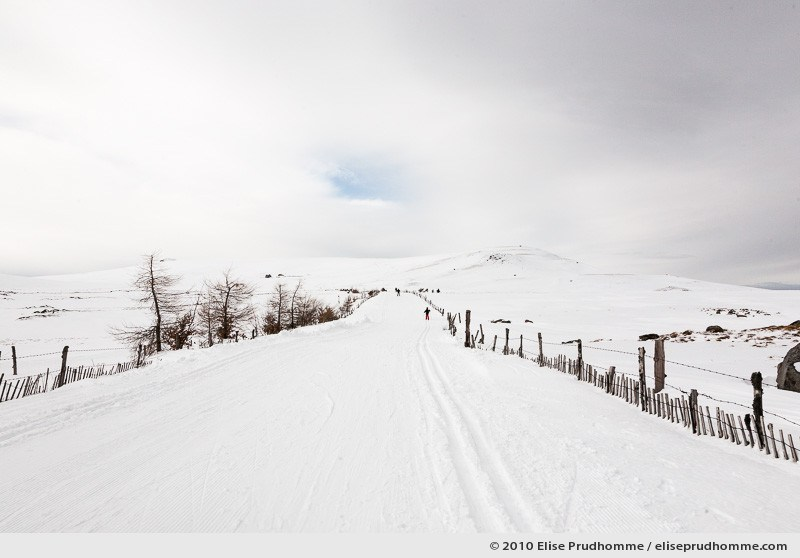 People in the distance cross-country skiing at the summit of the Banne d'Ordanche, Auvergne, France, 2010 by Elise Prudhomme.