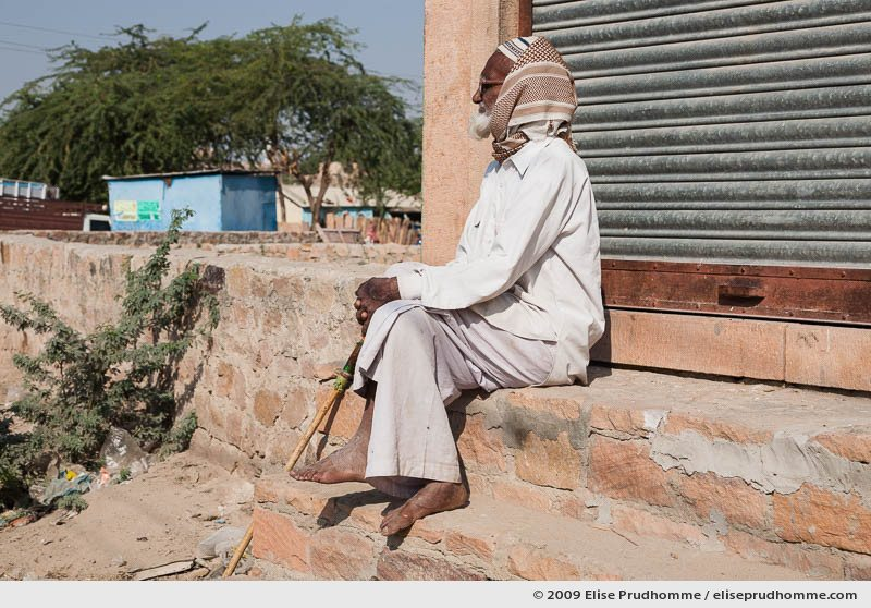 Elderly Indian man wearing traditional clothing in Rohet village, Rajasthan, Jodphur, Northern India, 2009 by Elise Prudhomme.