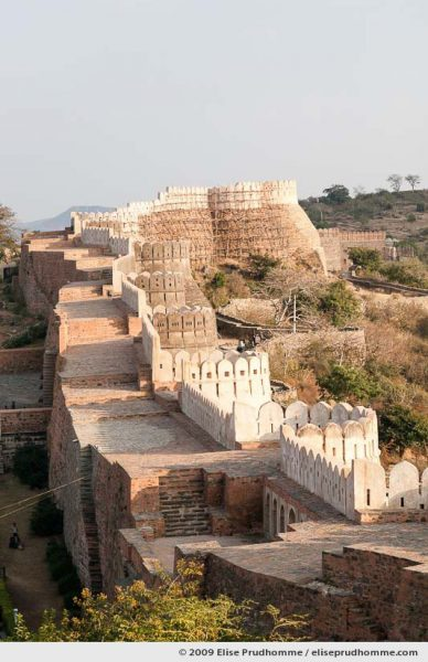 Partially renovated fortified ramparts surrounding Kumbalgarh Fort, Rajasthan, Northern India, 2009 by Elise Prudhomme.