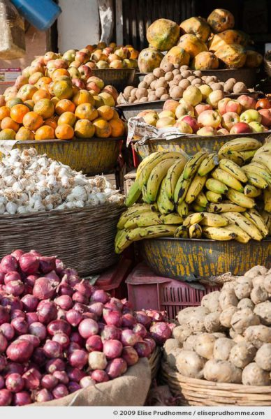 Fruit and vegetables for sale in Rohet village, Rajasthan, Jodhpur, Northern India, 2009.