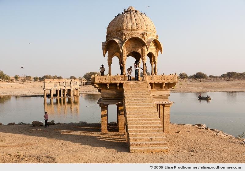 Gadi Sagar temple on Lake Gadi Sar in the late afternoon, Jaisalmer, Western Rajasthan, India, 2009 by Elise Prudhomme.