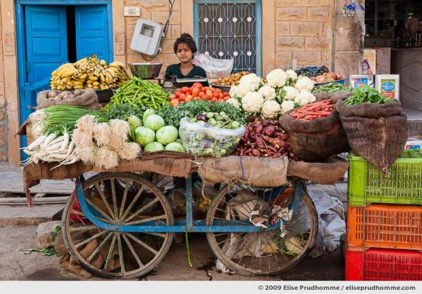 A young girl standing behind a fruit and vegetable trolley in Rohet village, Rajasthan, Jodhpur, India, 2009 by Elise Prudhomme.