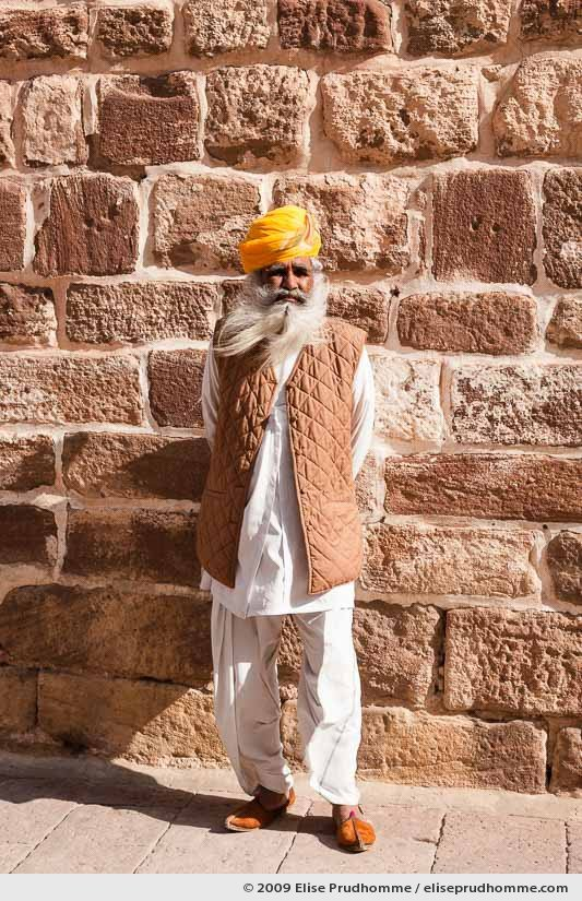 Indian man in national costume in the Mehrangarh Fort, Jodhpur, Rajasthan, Northern India, 2009 by Elise Prudhomme.