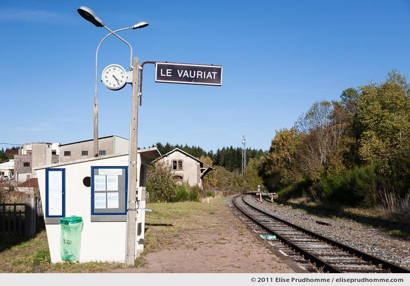 Le Vauriat Railway Station, a rural train stop on the Eygurande - Merlines to Clermont-Ferrand line, France, 2011 by Elise Prudhomme.
