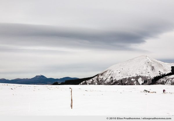 Lenticular cloud and Puy-de-Dôme as seen from the cross-country ski trail of Banne d'Ordanche, Auvergne, France, 2010 by Elise Prudhomme.
