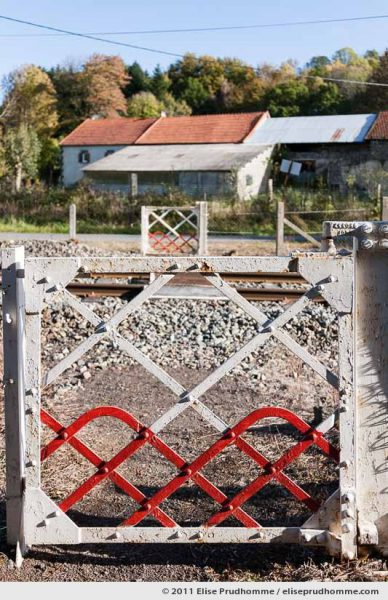Manual footpath railway level crossing in the village of Vauriat, France, 2011 by Elise Prudhomme.