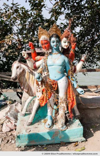 Painted clay idol of a Hindu Goddess in the Kumartuli district sculptor's enclave, Kolkata, Calcutta, West Bengal, India, 2009 by Elise Prudhomme.