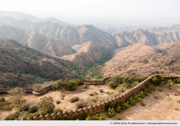 Part of the 36 km wall surrounding the enormous Kumbalgarh Fort, Rajasthan, Northern India, 2009 by Elise Prudhomme.