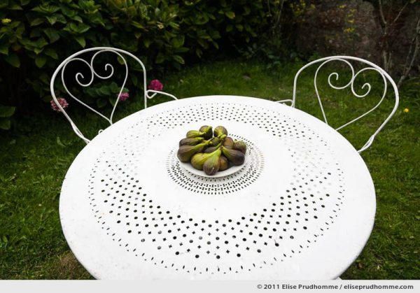 High-angle view of a plate of fresh figs and white metal heart-shaped scroll table and chairs, Fermanville, France, 2011 by Elise Prudhomme.