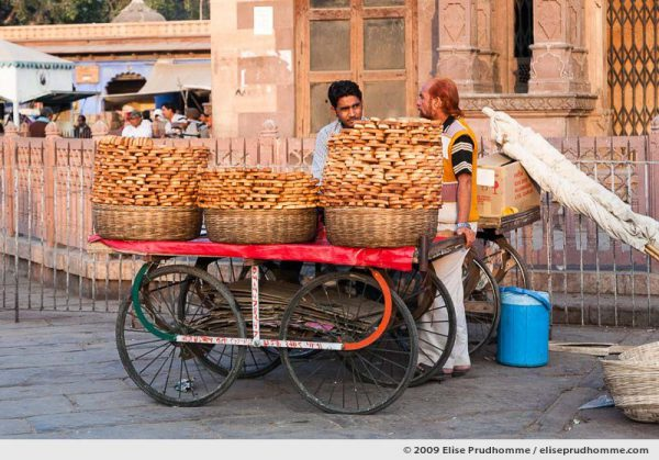 Street vendors selling toasted bread in Chandni Chowk, Delhi, India, 2009 by Elise Prudhomme