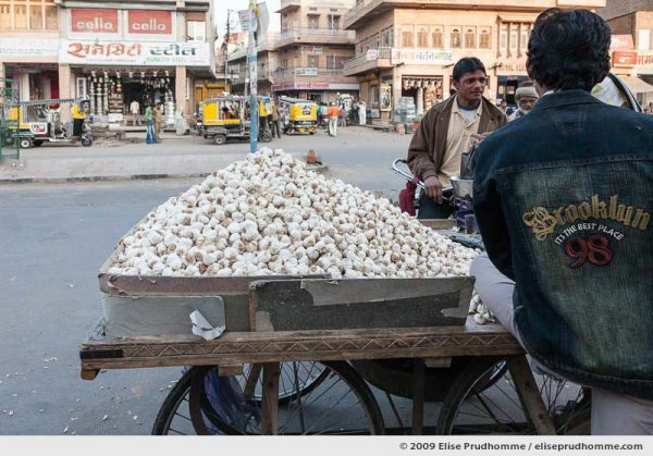 Street vendors selling garlic in Chandni Chowk, Delhi, India, 2009 by Elise Prudhomme.