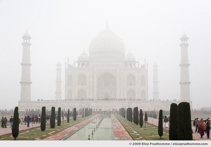 The Taj Mahal mausoleum southern view in the fog, Agra, Uttar Pradesh, India