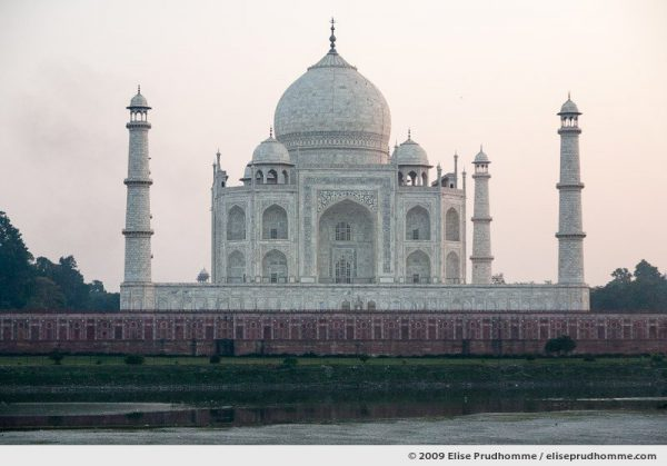 The Taj Mahal North Side viewed across Yamuna River at sunset, Agra, Uttar Pradesh, India, 2009 by Elise Prudhomme.