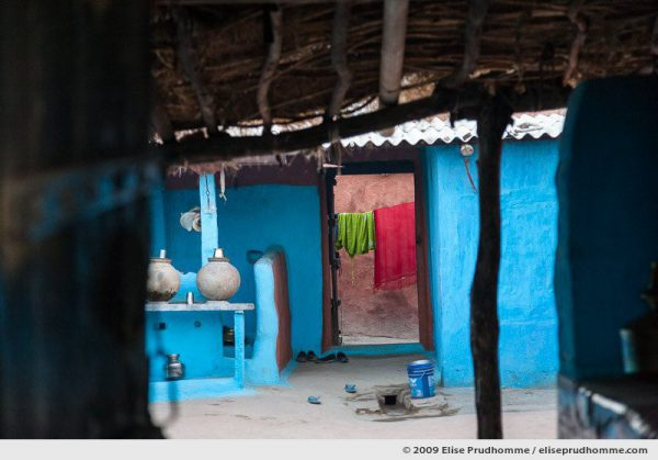 Traditional blue painted home in Hindu Brahman high caste village of Dhudaly, Rajasthan, Northern India, 2009 by Elise Prudhomme.