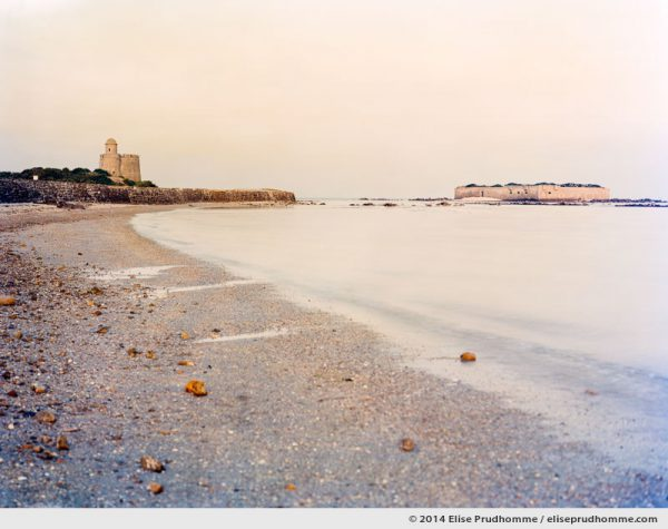 Looking towards the Vauban Fort at sunset from the beach, Tatihou Island, Saint-Vaast-la-Hougue, France.