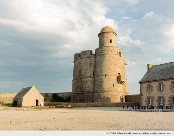Chapel and Vauban Tower situated inside the fortifications, Tatihou Island, Saint-Vaast-la-Hougue, France.